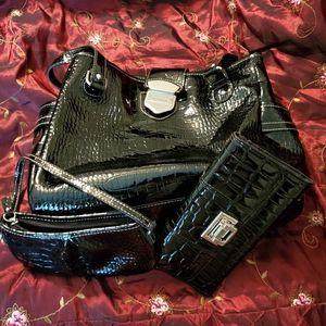 Liz Claiborne faux leather 3 piece crocodile bag